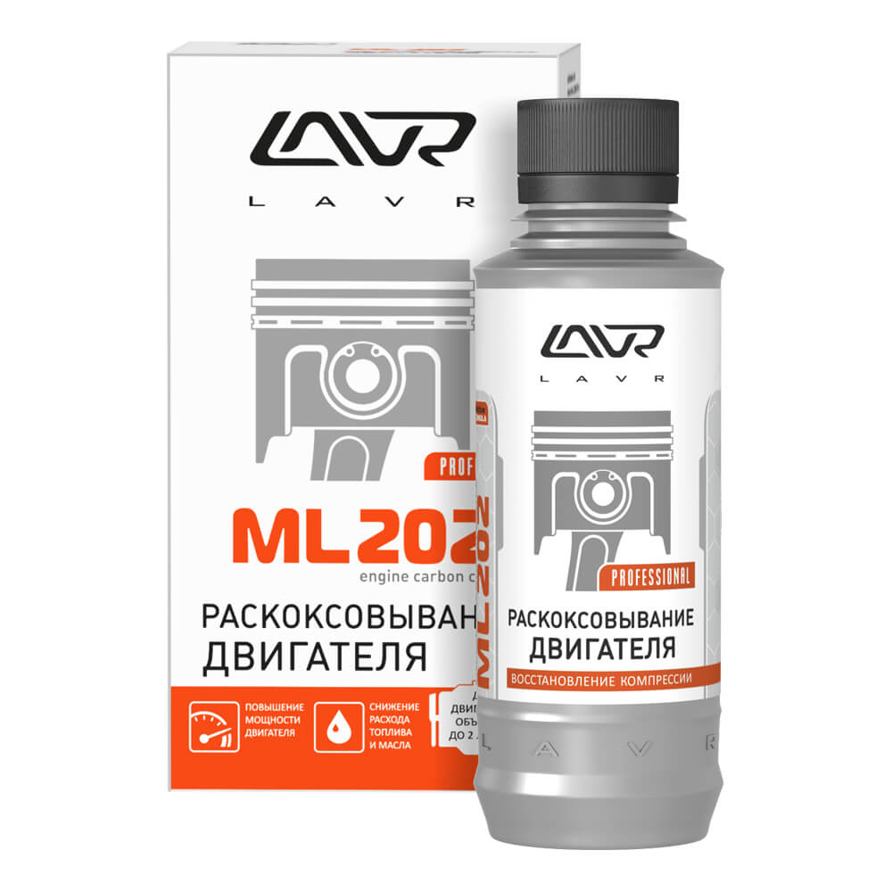 Раскоксовывание двигателя LAVR ML-202 Anti Coks Fast комплект для стандартного двигателя 185мл